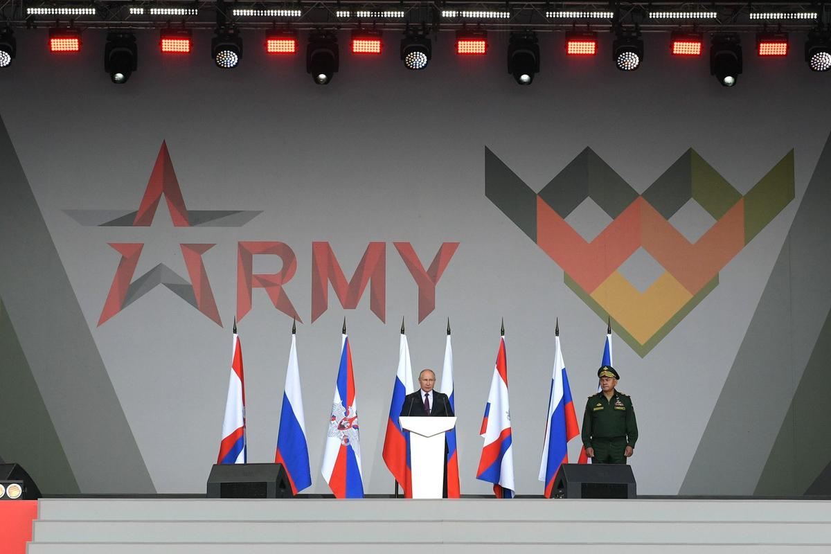 Президент РФ Владимир ПУТИН на церемонии открытия Международного военно-технического форума «Армия-2021». Фото – kremlin.ru